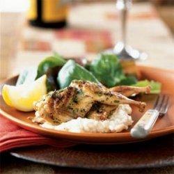 Grilled Quail with White Polenta recipe