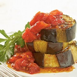 Olive Oil-Braised Eggplant with Fresh Tomato and Pomegranate Sauce recipe
