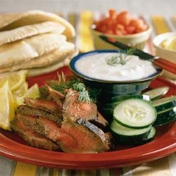 London Broil Sandwiches with Yogurt-Cucumber Sauce recipe