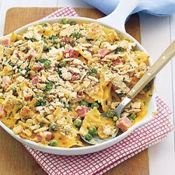 Baked Pasta with Peas, Cheese and Ham recipe