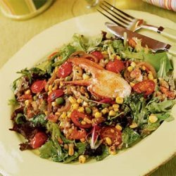 Warm Lobster Salad with Pan-roasted Corn, Peas, Basil, and Shallot Vinaigrette recipe