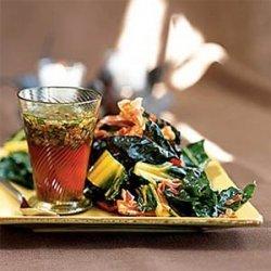 Braised Rainbow Chard with Warm Pancetta Vinaigrette recipe