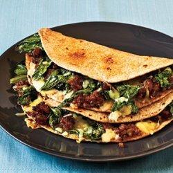 Escarole, Sausage, and Fontina Quesadillas recipe