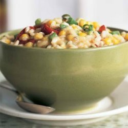 Monterey Jack, Corn, and Roasted Red Pepper Risotto recipe