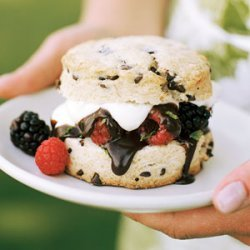 Chocolate-chip Shortcakes with Berries and Dark Chocolate Sauce recipe
