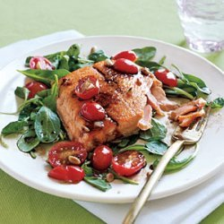Sauteed Arctic Char and Arugula Salad with Tomato Vinaigrette recipe