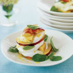 Peach and Mint Caprese Salad with Curry Vinaigrette recipe