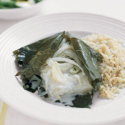 Halibut Wrapped in Grape Leaves recipe