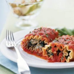 Lasagna Rolls with Roasted Red Pepper Sauce recipe