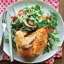 Roast Chicken with Arugula Tomato Salad recipe
