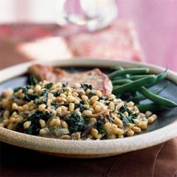 Grano with Mushrooms and Greens recipe
