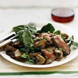 Steak with Arugula and Balsamic Mushrooms recipe