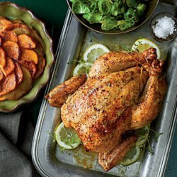 Roast Chicken with Sweet Potatoes and Apples recipe
