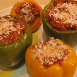 Stuffed Peppers with Ground Beef and Rice recipe