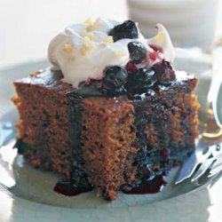 Gingerbread Cake with Blueberry Sauce recipe