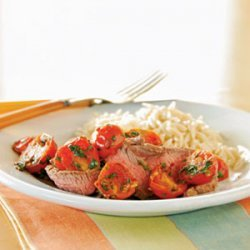 Broiled Flank Steak with Warm Tomato Topping recipe