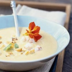Yellow Squash and Split Pea Soup with Shrimp recipe