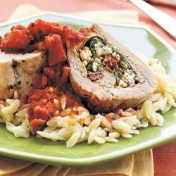 Spinach, Pesto, and Feta-Stuffed Pork Tenderloin with Chunky Tomato Sauce recipe