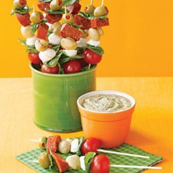 Antipasto Skewers with Pesto Dip recipe