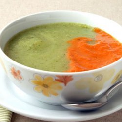 Zucchini and Fennel Soup with Roasted Red Pepper Puree recipe