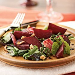 Roasted Beet and Shallot Salad over Wilted Beet Greens and Arugula recipe