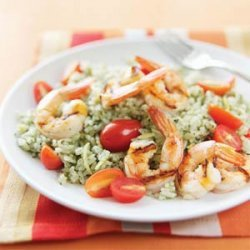 Grilled Shrimp with Lemon-Pesto Rice recipe
