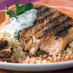 Moroccan Swordfish with Caper-Yogurt Sauce recipe