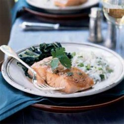 Slow-Roasted Salmon with Bok Choy and Coconut Rice recipe