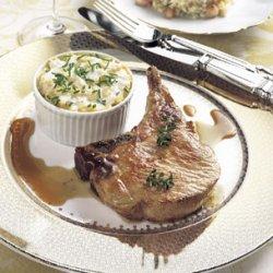 Roasted Pork Chops with Serrano Ham Vinaigrette recipe