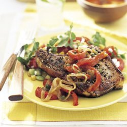 Smothered Grilled Pork Chops recipe