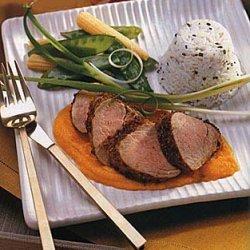 Coriander Pork Tenderloin with Carrot-Ginger Sauce recipe