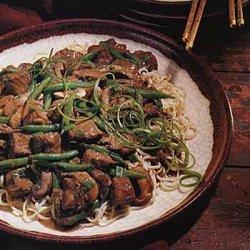 Hoisin-Braised Pork, Mushrooms and Green Beans on Noodles recipe