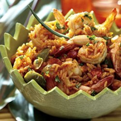 Spicy Rice with Shrimp and Peppers recipe