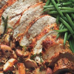 Roast Turkey Breast with Potatoes, Green Beans, and Mustard Pan Sauce recipe