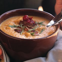 Smoked Turkey and Bacon Chowder with Pumpernickel and Cranberry Croutons recipe