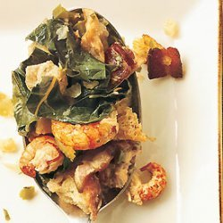 Bread Stuffing with Crawfish, Bacon, and Collard Greens recipe