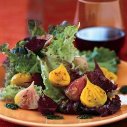 Roasted Beets and Baby Greens with Corinader Vinaigrette and Cilantro Pesto recipe
