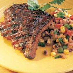 Barbecued Ribs with Corn and Black-Eyed-Pea Salad recipe