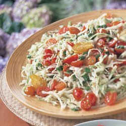 Cabbage and Tomato Slaw with Sherry-Mustard Viniagrette recipe