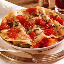 Roasted Vegetable and Prosciutto Lasagna with Alfredo Sauce recipe