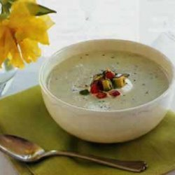 Cucumber and Avocado Soup with Tomato and Basil Salad recipe