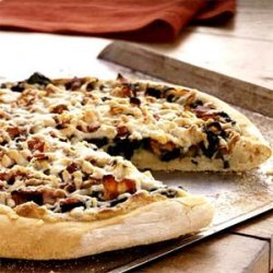 Spinach, Caramelized Onion, and Bacon Pizza recipe