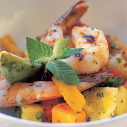 Tropical Fruit, Avocado, and Grilled Shrimp Salad recipe