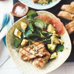 Grilled Mahimahi with Grapefruit, Avocado, and Watercress Salad recipe
