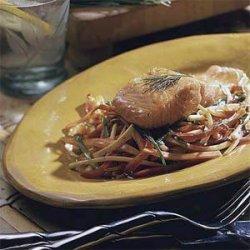 Glazed Salmon with Stir-fried Vegetables recipe