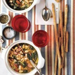 Slow-Cooker White Bean Soup With Andouille and Collards recipe