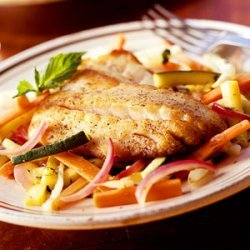 Sauteed Striped Bass with Summer Vegetables recipe