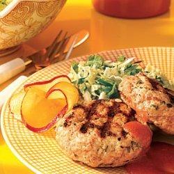 Pork Patties with Plum Sauce and Napa Cabbage Slaw recipe