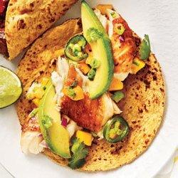 Cumin-Spiced Fish Tacos with Avocado-Mango Salsa recipe