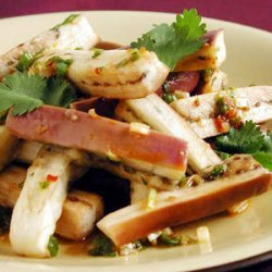 Steamed Japanese Eggplant with Spicy Green Onion-Ginger Sauce recipe